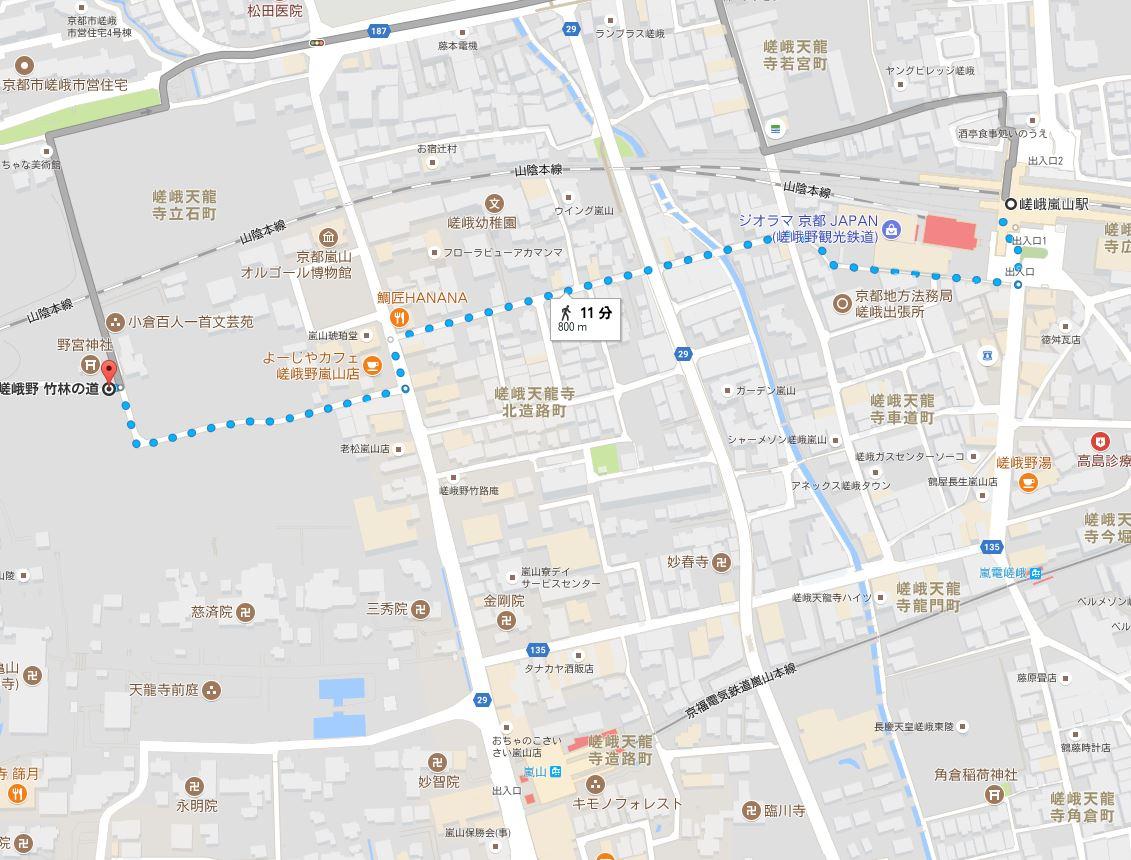 嵯峨嵐山駅から竹林の道までのアクセス