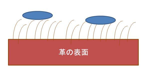 スエード:表面張力で内部に水が浸入しない