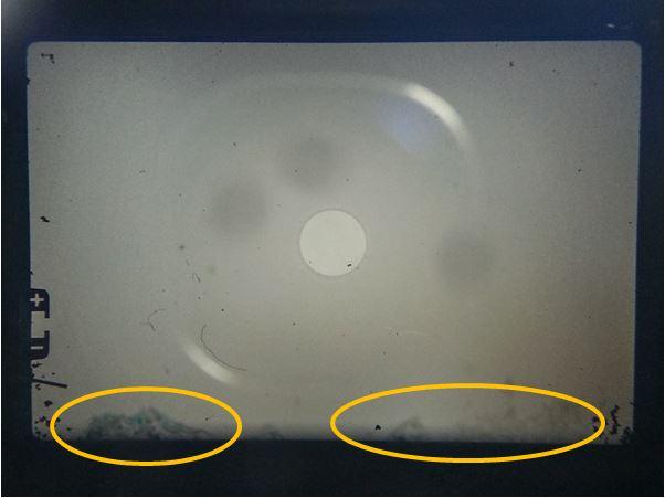 プリズムの腐食が起きたファインダー像 ペンタプリズム腐食 手順 方法 フォーカシングスクリーン